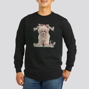 Poodle Flowers Long Sleeve Dark T-Shirt