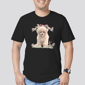 Poodle Flowers Men's Fitted T-Shirt (dark)