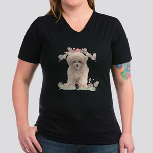 Poodle Flowers Women's V-Neck Dark T-Shirt