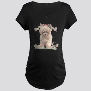 Poodle Flowers Maternity Dark T-Shirt