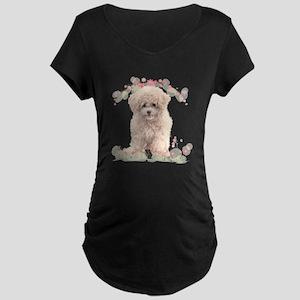 Poodle Flowers Maternity Dark T-Shirt