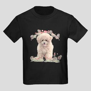 Poodle Flowers Kids Dark T-Shirt