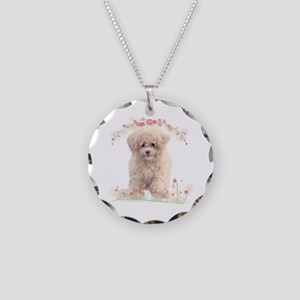 Poodle Flowers Necklace Circle Charm