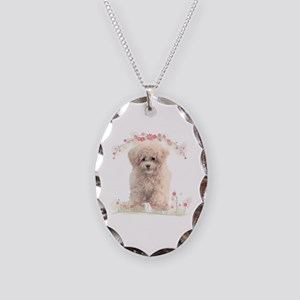 Poodle Flowers Necklace Oval Charm