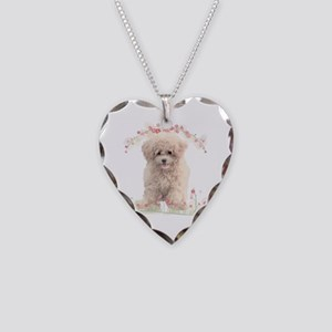 Poodle Flowers Necklace Heart Charm