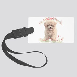 Poodle Flowers Large Luggage Tag