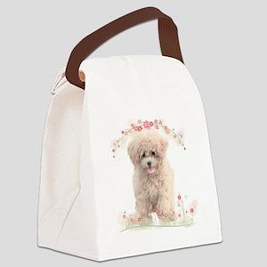 Poodle Flowers Canvas Lunch Bag