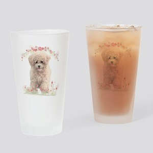 Poodle Flowers Drinking Glass