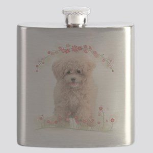 Poodle Flowers Flask