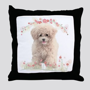 Poodle Flowers Throw Pillow