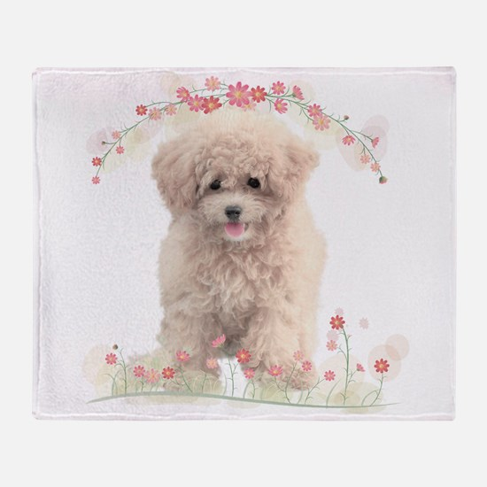 Poodle Flowers Throw Blanket