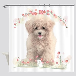 Poodle Flowers Shower Curtain