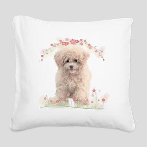 Poodle Flowers Square Canvas Pillow