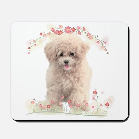 Poodle Flowers Mousepad
