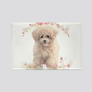 Poodle Flowers Rectangle Magnet