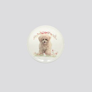 Poodle Flowers Mini Button