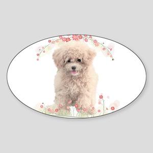Poodle Flowers Sticker (Oval)