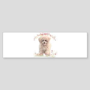 Poodle Flowers Sticker (Bumper)