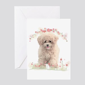 Poodle Flowers Greeting Card