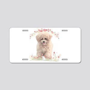 Poodle Flowers Aluminum License Plate