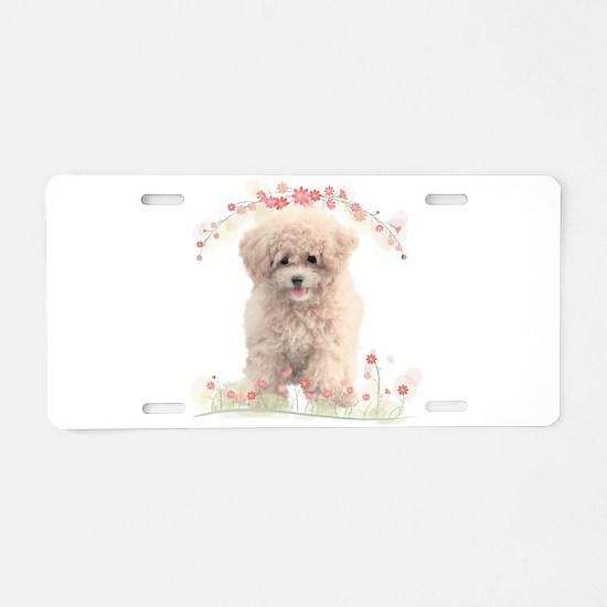 Poodle Flowers Aluminum License Plate