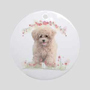 Poodle Flowers Ornament (Round)