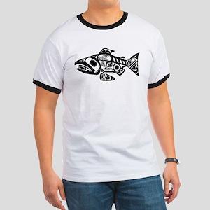 Salmon Native American Design Ringer T
