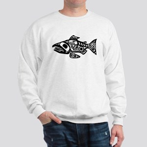 Salmon Native American Design Sweatshirt