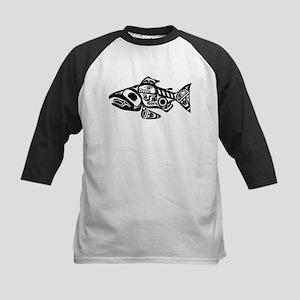 Salmon Native American Design Kids Baseball Jersey