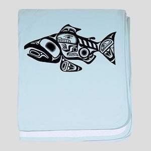 Salmon Native American Design baby blanket