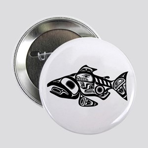 "Salmon Native American Design 2.25"" Button"