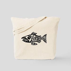 Salmon Native American Design Tote Bag