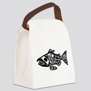Salmon Native American Design Canvas Lunch Bag