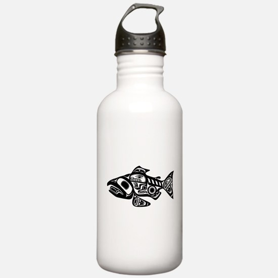 Salmon Native American Design Water Bottle