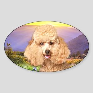 Poodle Meadow Sticker (Oval)