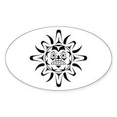 Sun Native American Design Sticker (Oval 50 pk)