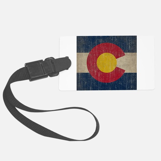 Vintage Colorado Flag Large Luggage Tag