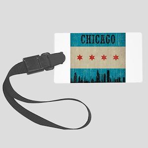 Vintage Chicago Skyline Large Luggage Tag