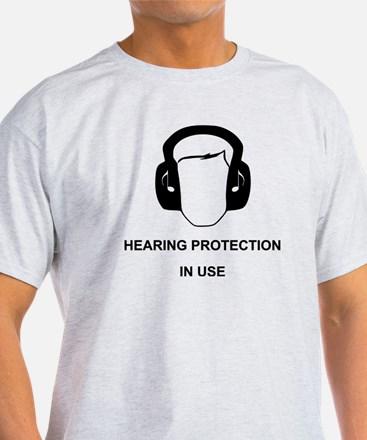 Hearing Protection with Text Black T-Shirt