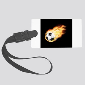 Fiery Soccer Ball Large Luggage Tag