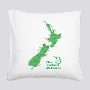 New Zealand Map Square Canvas Pillow