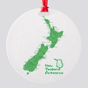 New Zealand Map Round Ornament
