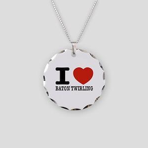 I love Baton Twirling Necklace Circle Charm