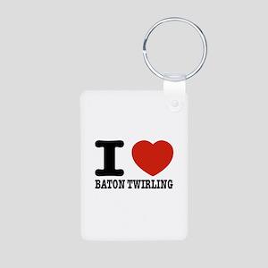 I love Baton Twirling Aluminum Photo Keychain