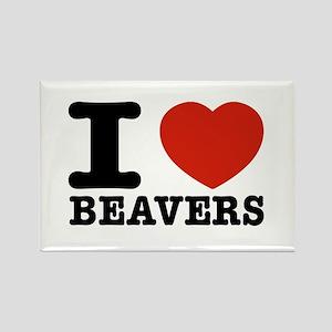 I love Beavers Rectangle Magnet