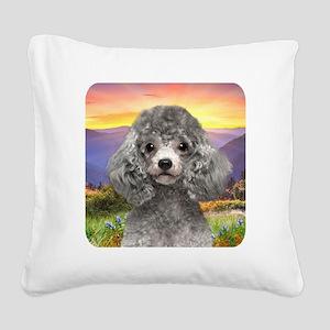 Poodle Meadow Square Canvas Pillow