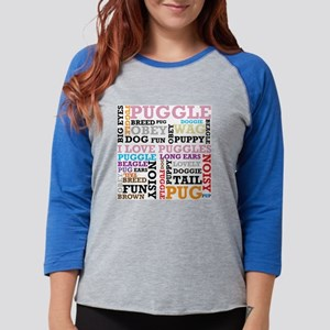 Puggle Pink Words Womens Baseball Tee