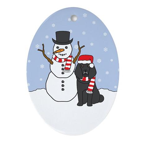 Black Poodle Winter Oval Ornament