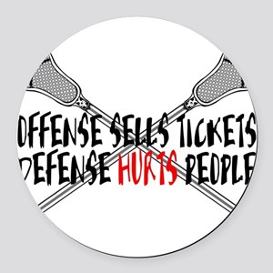 Lacrosse Defense Hurts Round Car Magnet