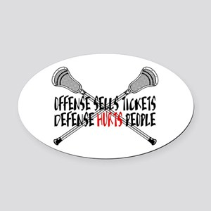 Lacrosse Defense Hurts Oval Car Magnet